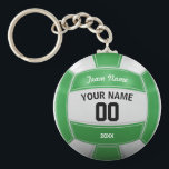 """Volleyball Player&#39;s Name Year Team Green Keychain<br><div class=""""desc"""">Need a unique idea to give to your Team? Personalized Green and White Volleyball design. Insert your Team Name,  Player&#39;s Name,  Jersey Number,  Year. These keychain make a unique team gift.</div>"""
