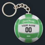 "Volleyball Player&#39;s Name Year Team Green Keychain<br><div class=""desc"">Need a unique idea to give to your Team? Personalized Green and White Volleyball design. Insert your Team Name,  Player&#39;s Name,  Jersey Number,  Year. These keychain make a unique team gift.</div>"