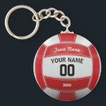 "Volleyball Player&#39;s Name Year Team Red Keychain<br><div class=""desc"">Need a unique idea to give to your Team? Personalized Red and White Volleyball design. Insert your Team Name,  Player&#39;s Name,  Jersey Number,  Year. These keychain make a unique team gift.</div>"