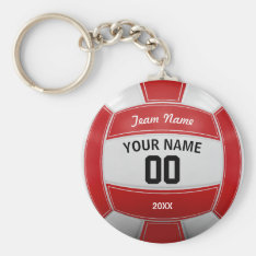 Volleyball Player's Name Year Team Red Keychain at Zazzle