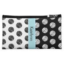 Volleyball Polka Dot Pattern Monogram Makeup Bag