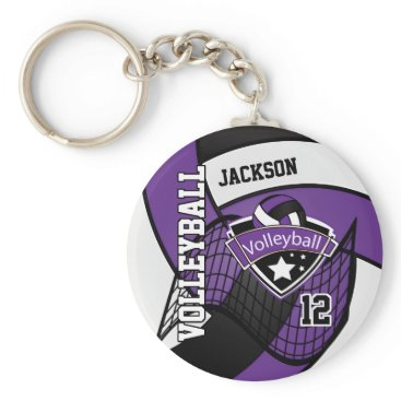 USA Themed Volleyball - Purple, Black, and White Keychain