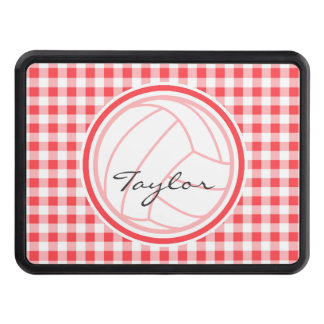 Volleyball; Red and White Gingham Hitch Cover