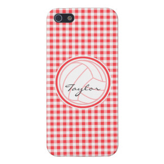 Volleyball; Red and White Gingham Cases For iPhone 5