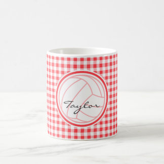 Volleyball; Red and White Gingham Coffee Mug