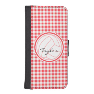 Volleyball; Red and White Gingham iPhone 5 Wallet