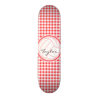 Volleyball; Red and White Gingham Skate Decks