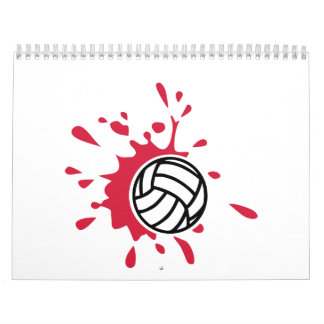 Volleyball red color splash calendar