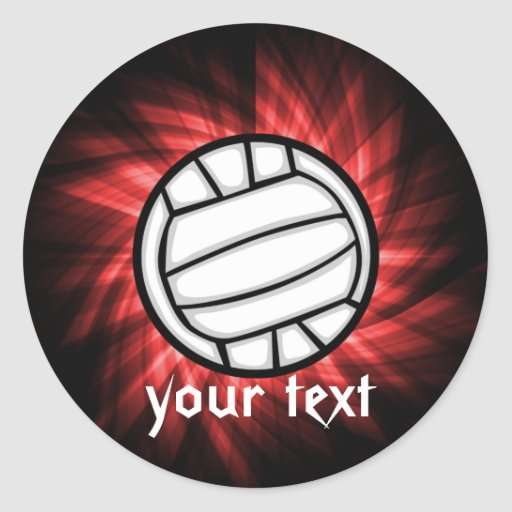 Volleyball; Red Round Stickers