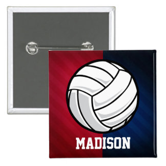 Volleyball; Red, White, and Blue 2 Inch Square Button