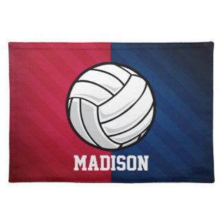 Volleyball; Red, White, and Blue Cloth Placemat