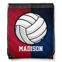 Volleyball; Red, White, and Blue Drawstring Bag