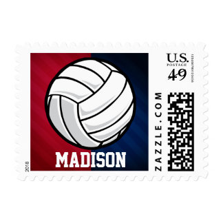 Volleyball; Red, White, and Blue Postage Stamps