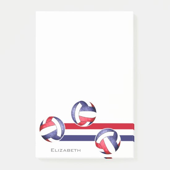 Volleyball red white blue post-it notes