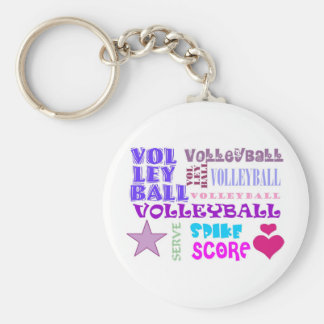 Volleyball Repeating Basic Round Button Keychain