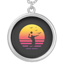 volleyball retro sunset, #volleyball silver plated necklace