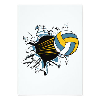 volleyball ripping through blue and gold 5x7 paper invitation card