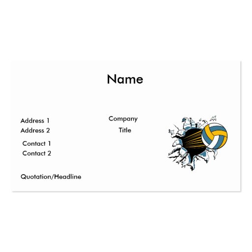 volleyball ripping through blue and gold business card template