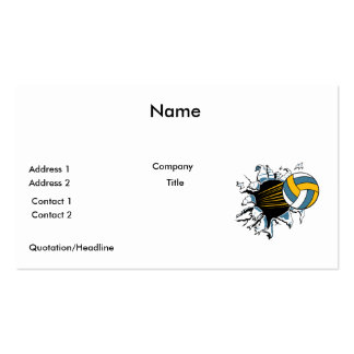 volleyball ripping through blue and gold Double-Sided standard business cards (Pack of 100)