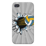 volleyball ripping through blue and gold case for iPhone 4