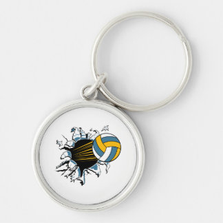volleyball ripping through blue and gold key chain