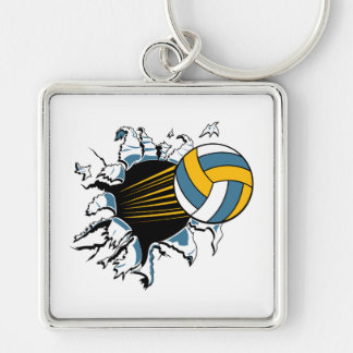 volleyball ripping through blue and gold keychains