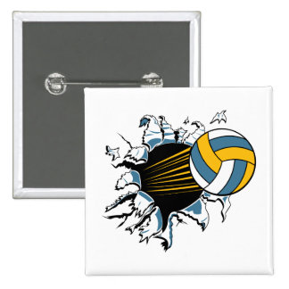 volleyball ripping through blue and gold pinback button