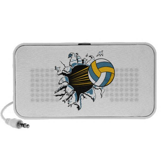 volleyball ripping through blue and gold iPhone speaker