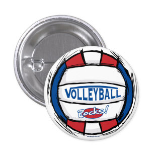 Volleyball Rocks Ball by Mudge Studios Button