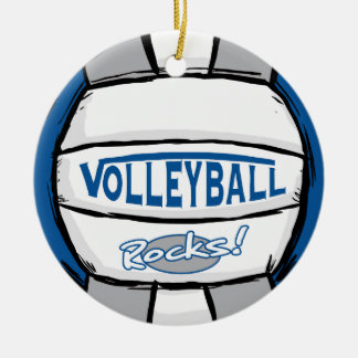 Volleyball Rocks Blue and Silver Ceramic Ornament