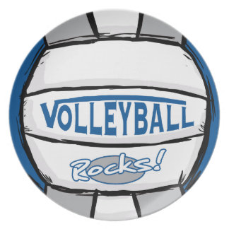 Volleyball Rocks Blue and Silver Dinner Plate