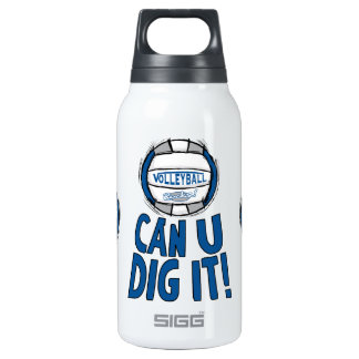 Volleyball Rocks Blue and Silver Insulated Water Bottle