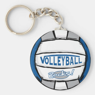 Volleyball Rocks Blue and Silver Keychain