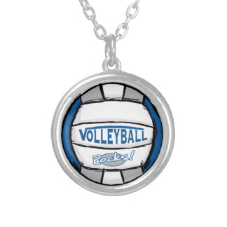 Volleyball Rocks Blue and Silver Round Pendant Necklace