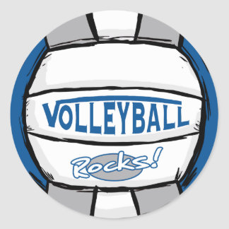 Volleyball Rocks Blue and Silver Round Stickers