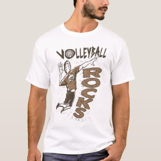 Volleyball Rocks Brown T-Shirt