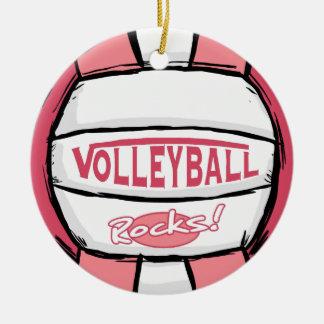 Volleyball Rocks Pink Ceramic Ornament
