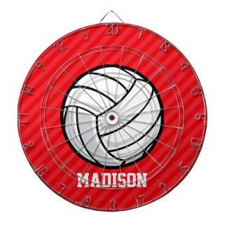 Volleyball; Scarlet Red Stripes Dartboard With Darts