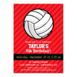Volleyball; Scarlet Red Stripes 5x7 Paper Invitation Card