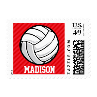 Volleyball; Scarlet Red Stripes Stamp