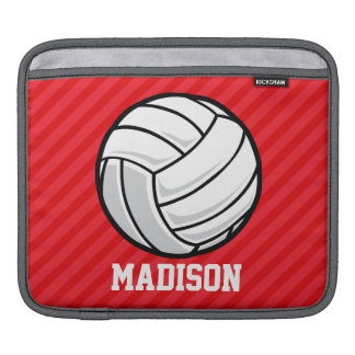 Volleyball; Scarlet Red Stripes Sleeve For iPads