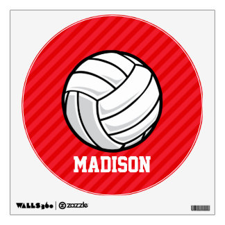 Volleyball; Scarlet Red Stripes Wall Decal