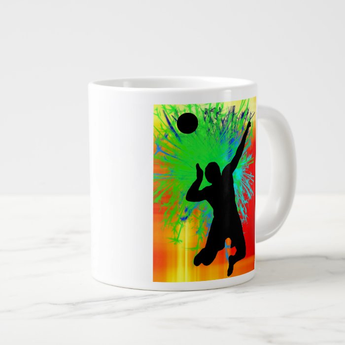 Volleyball Service Fireworks Large Coffee Mug