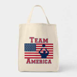 Volleyball Set American Flag Team America Tote Bags