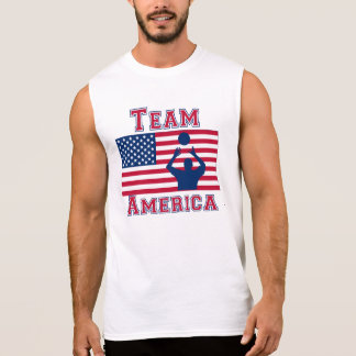 Volleyball Set American Flag Team America Sleeveless Tee