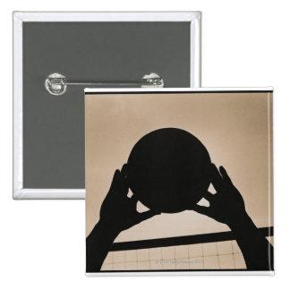 Volleyball Silhouette 2 2 Inch Square Button