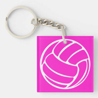 Volleyball Silhouette Acrylic Keychain Pink