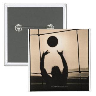 Volleyball Silhouette 2 Inch Square Button