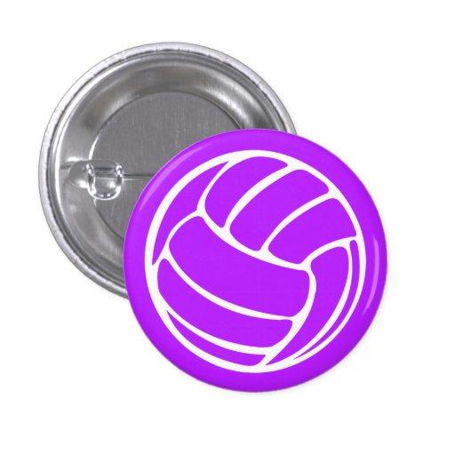 Volleyball Silhouette Button Purple