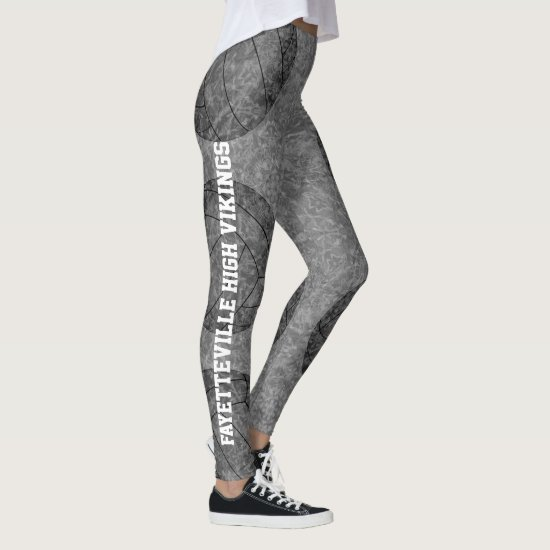 volleyball silhouettes boho art pattern gray black leggings